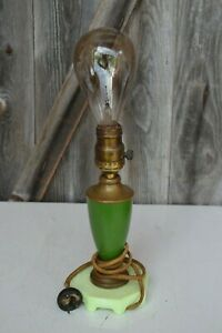 Vintage Art Deco Jadeite Base Table Lamp