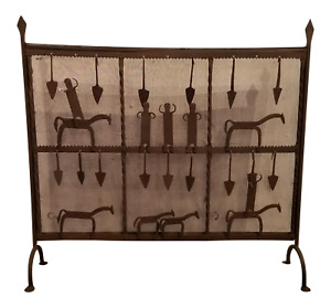 Handcrafted Iron Fireplace Screen With Horses Figures Folk Art