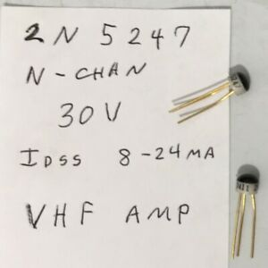 125ea New Gold Lead 2n5247 N chan J fet Glob Top Intersil Transistors