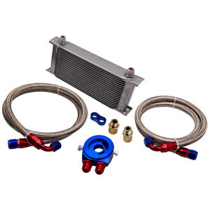 New 19 Row 10an Universal Engine Transmission Oil Cooler Filter Relocatation Kit