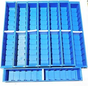 Flexcon 24 X 4 X 4 Blue Stackable Storage Bin 0630karbl244416f lot Of 8 Nos