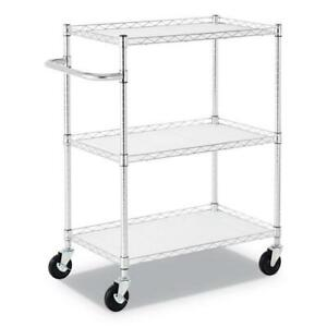 3 shelf Wire Cart With Liners 34 5w X 18d X 40h Silver 600 lb Capacity