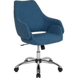 Madrid Home And Office Upholstered Mid back Chair In Blue Fabric