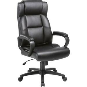 Lorell Soho High back Leather Executive Chair Bonded Leather Black Seat
