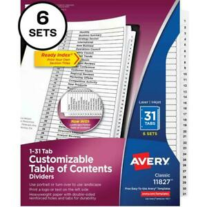 Avery reg Ready Index r 31 tab Binder Dividers Customizable Table Of