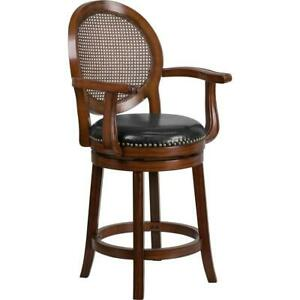 26 High Expresso Wood Counter Height Stool With Arms Woven Rattan Back