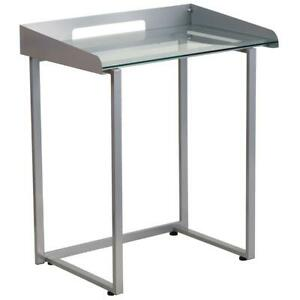 Contemporary Clear Tempered Glass Desk With Raised Cable Management Border