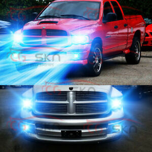 For 02 05 Dodge Ram 1500 2500 3500 8000k 9007 Led Headlight fog Light Bulbs 9006