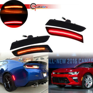Smoke Front Amber Rear Red Led Side Marker Lights Kit For 2016 2018 Chevy Camaro