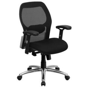 Mid back Black Super Mesh Executive Swivel Office Chair With Knee Tilt