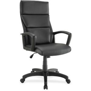 Lorell Euro Design Leather Executive High back Chair Bonded Leather Black