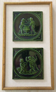 Pair Of Antique Wedgwood Framed Majolica Green Tiles Boys With Globe