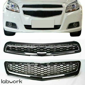 Front Bumper Upper Lower Grille Set Abs Chrome Grill Fit For 2013 Chevy Malibu