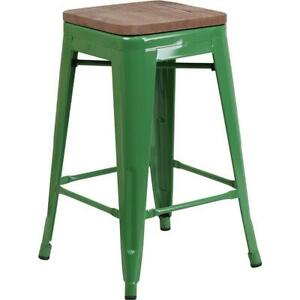 24 High Backless Green Metal Counter Height Stool With Square Wood Seat
