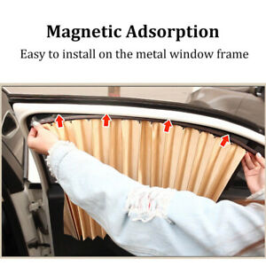 Magnetic Front And Rear Car Window Covers Universal Sun Shade Curtains 4pcs set