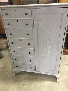 Wonderful Crackled Paint Chifferobe Wardrobe Cabinet Dresser