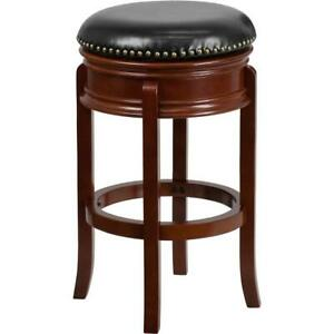 29 High Backless Light Cherry Wood Barstool With Carved Apron And Black
