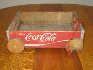"Vintiage COCA COLA WOOD CRATE WAGON 17"" X 12"" Built from Coke Crates"