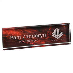 Personalized Red Acrylic Name Plate Desk Nameplate Home Office Decor