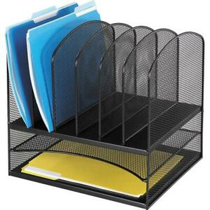 Onyx Mesh Desk Organizer With Two Horizontal And Six Upright Sections