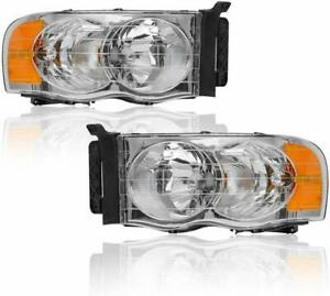 For Dodge Ram 1500 2500 3500 Pickup 2002 2005 Chrome Clear Headlights Lh Rh