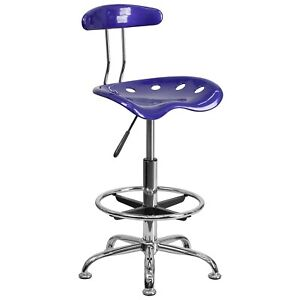 Flash Furniture Chrome Low Back Drafting Stool With Tractor Seat Vibrant Deep