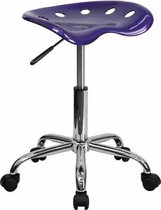 Flash Furniture Vibrant Tractor Seat And Chrome Stool Violet Lf214aviolet