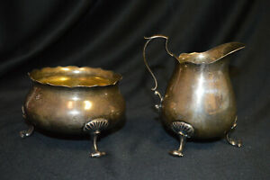Vintage Poole Sterling Silver 925 Footed Creamer Sugar Bowl Set Pattern 115
