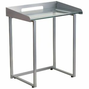 Contemporary Desk With Clear Tempered Glass And Silver Frame Flananylcd1234gg