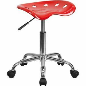 Vibrant Red Tractor Seat And Chrome Stool Flalf214aredgg