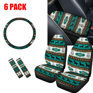 6 Pack Aztec Horse Car Seat Covers steering Wheel Cover seat Belt Pads armrest