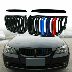 Pair Dual Slat M Color Front Kidney Grill For Bmw E90 E91 325i 328i 330i 05 08