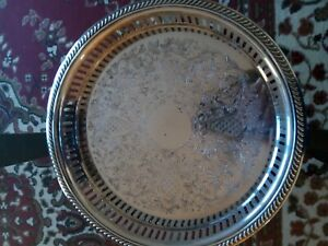 Vintage W S Blackinton Latticed Round Serving Tray 10 Silver Plated
