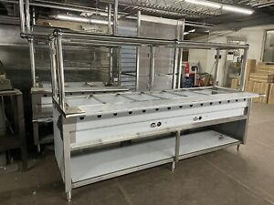 96 8ft Steam Table All Stainless Steel 7 Pan 2 Burners Gas W Sneeze Guard Nsf