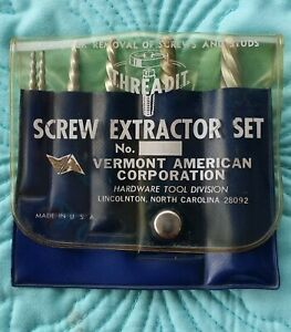 Threadit 5 Pc Screw Extractor Set By Vermont American Corp W Case Made In Usa