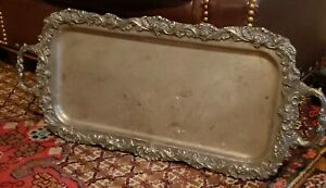 Vintage Grape Motif Sheffield Silver Plated 2 Handle Serving Tray 25 X 11 1 4