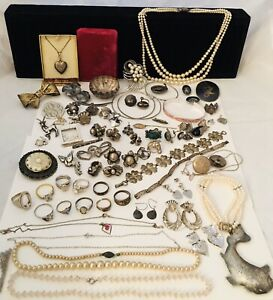 Vintage Antique Sterling Silver Estate Jewelry Lot Not Scrap 430grams Great