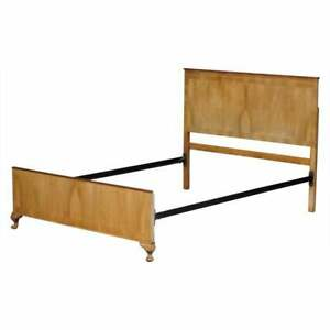 Art Deco 1920 Light Walnut Bed Frame Bedstead Headboard Carved Cabriolet Legs