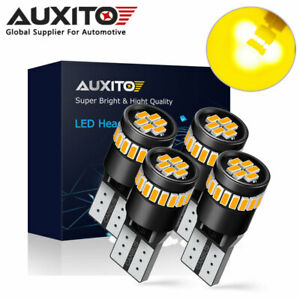 4x Auxito Canbus Error Free T10 168 194 Led License Dome Light Bulb Amber Yellow