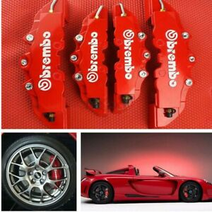 4pc 3d Style Car Universal Disc Brake Caliper Covers Front Rear Kit Red