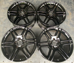 Mercedes C class Amg 2008 2011 17 Factory Staggered Wheels Black Chrome Set