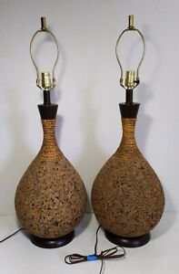 Vintage Pair Of Mid Century Modern Sculptural Cork Body Table Lamps