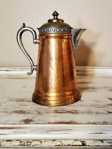 19th Century American Copper Pewter Coffee Pot 6 By Manning Bowman Co