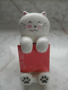 White Cat Sticky Note Post it Note Holder Deck Accessory Pawsome Notes Pad