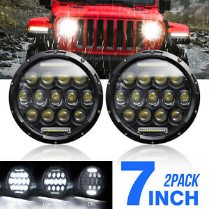 2x 7inch Round 150w Total Led Headlights Hi lo For 97 17 Jeep Jk Tj Lj Wrangler