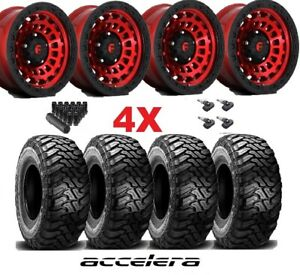 Fuel Zephyr Candy Red Wheels Rims Tires 35 12 50 17 Mud Mt Package