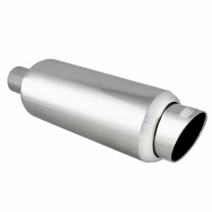 Dc Sports Universal Stainless Steel Round Muffler With Slant Tip Ex 5016