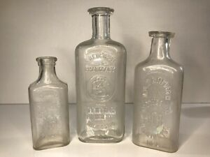 Vintage Glass Wilmington Delaware Apothecary Drug Store Pharmacy Bottles