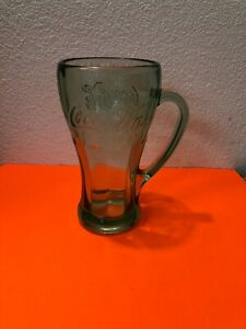 Vintage Coca Cola Glass With Handle Heavy Green Mug Libbey Coke Glass