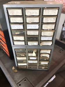 Vintage Electronic Akro mils Metal Cabinet S 36 Drawer Full Of Power Amplifiers